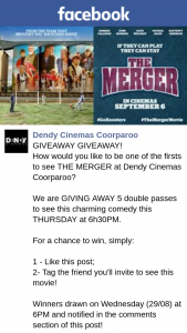 Dendy Cinemas Coorparoo – Win One of Five Double Passes to The Merger Preview Screening
