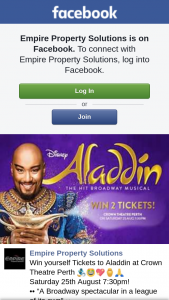 Empire Property Solutions – Win Yourself Tickets to Aladdin at Crown Theatre Perth &#129502&#8205&#9794&#65039&#129321&#128150&#9905&#65039&#128591
