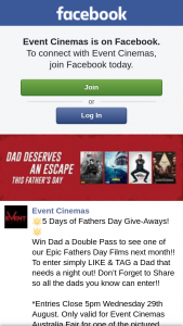 Event Cinemas Australia Fair – Win Dad a Double Pass to See One of Our Epic Fathers Day Films Next Month
