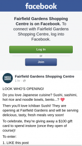 Fairfield Gardens Shopping centre – a $100 Gift Card to Spend Instore (once They Open of Course)