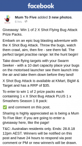 Mum to Five – Win 1 of 2 X Shot Flying Bug Attack Prize Packs