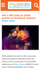 Must Do Brisbane – Win a Double Pass to this Powerful Performance of Peter Grimes at Qpac's Concert Hall on Saturday September 22 at 7.30pm