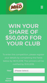 "Nestle-Milo IGA – Win a Share of $50000?"" (prize valued at $50,000)"