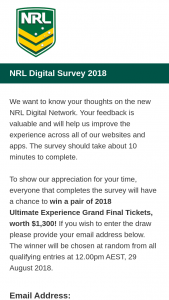 NRL – Win a Pair of 2018 Ultimate Experience Grand Final Tickets (prize valued at $1,300)