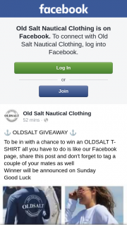 Old Salt Nautical – Win an Oldsalt T- Shirt All You Have to Do Is Like Our Facebook Page