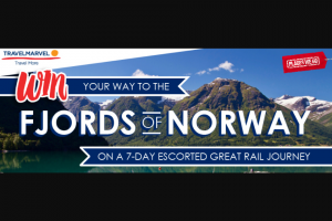 Places We Go – Travel Marvel – Win Your Way to The Fjords of Norway Terms and Conditions (prize valued at $2)