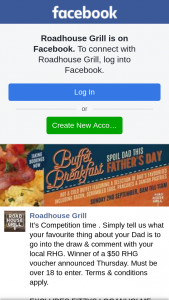 RoadhouseGrill – of a $50 Rhg Voucher Announced Thursday (prize valued at $50)