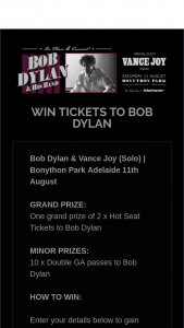 Space Events – Win Tickets to Bob Dylan