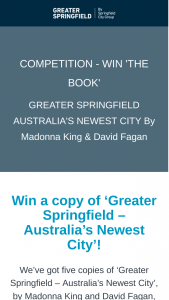 Springfield City Group – Win a Copy of 'greater Springfield – australia's Newest City' (prize valued at $248)
