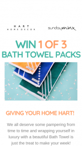 Sunday Minx – Hart Home Decor – 3 Bath Towel Packs to Our Fabulous Customers (prize valued at $98)