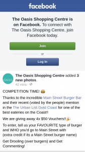 The Oasis Shopping Centre – 4x $50 Vouchers (prize valued at $200)
