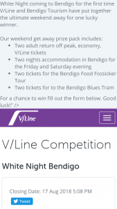 V-Line – Fill Out The Form (prize valued at $880)