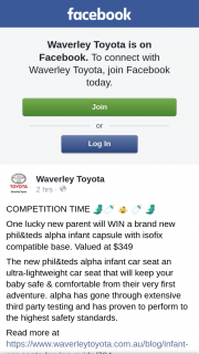 Waverley Toyota – Win a Brand New Phil&teds Alpha Infant Capsule With Isofix Compatible Base (prize valued at $349)