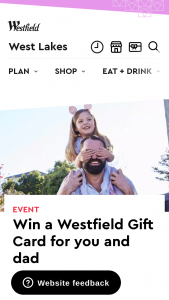 Westfield West Lakes – Win an $100 Gift Card for You and Dad (prize valued at $250)
