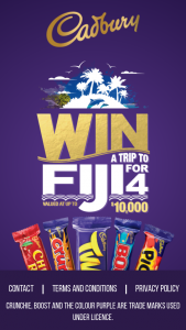 Woolworths – Cadbury – Win a Trip to Fiji Promotion (prize valued at $5,700)