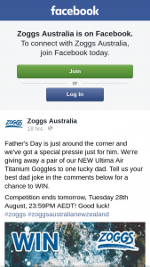 Zoggs Australia giving away a pair of our NEW Ultima Air Titanium Goggles – a Pair of Our New Ultima Air Titanium Goggles to One Lucky Dad