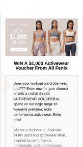 All Fenix Activewear – Win a Huge $1000 Activewear Voucher to Spend on Our Large Range of Women's Premium