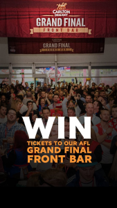 Carlton Draught Grand Final Front Bar Tickets – Win Your Place Inside The 'g'