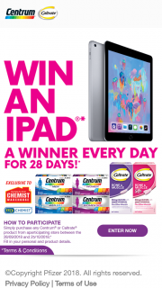 Chemist Warehouse Centrum-Caltrate – Win an Apple Ipad 6th Gen 32gb Wi-Fi (space Grey) Valued at an RRP of $499 Each (prize valued at $499)