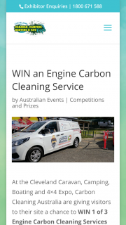 Cleveland Expo Qld- Visit Carbon Cleaning Site at Expo & – Win 1 of 3 Engine Carbon Cleaning Services Valued Up to $165. (prize valued at $165)