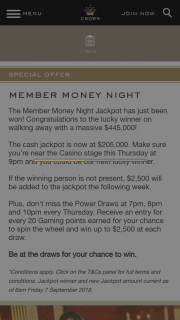 Crown Perth – on Walking Away With a Massive $445000 (prize valued at $205,000)
