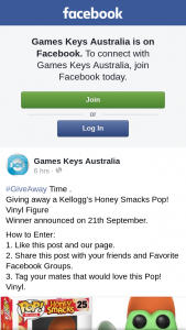 Games Keys Australia – Win a Kellogg's Honey Snacks Pop Vinyl Figure