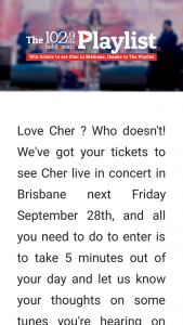 102.9 Hot Tomato – Win Tickets to See Cher In Brisbane Complete Survey