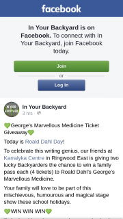 In Your Backyard – Win a Family Pass Each (4 Tickets) to Roald Dahl's George's Marvellous Medicine