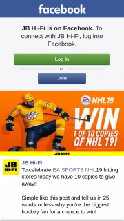 JB HiFi – Win One of Ten Ea Sports Nhl19 Games