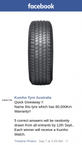 Kumho Tyre Australia – Will Receive a Kumho Watch