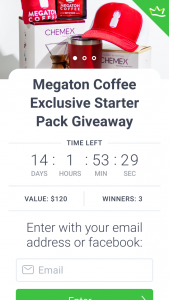 Megation Coffee – Win a Brand New Chemex (and Filters). (prize valued at $360)