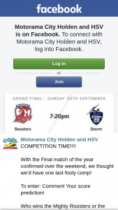 Motorama City Holden & HSV – Win a Grand Final Prize Guess Score