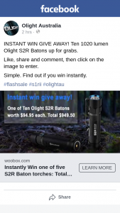 Olight Australia – Win One of Ten 1020 Lumen Olight Sr2 Batons