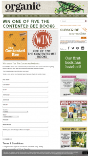 Organic Gardener – Win One of Five The Contented Bee Books (prize valued at $35)
