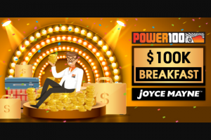 Power100 Townsville – Win an Opportunity at a 1 In 100 Chance of Winning $100000 Simply Register Your Details and Make Sure You're Listening Weekdays From 8am (prize valued at $105,000)