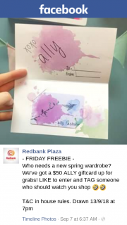 Redbank plaza – Win $50 Ally Gift Card Must Collect