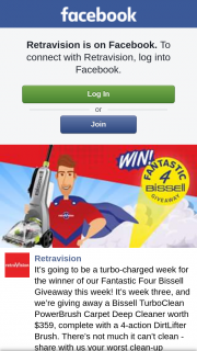 Retravision – of Our Fantastic Four Bissell this Week (prize valued at $359)