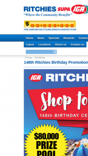 Ritchies IGA – Win 148th Birthday Sale Promotion (prize valued at $30)