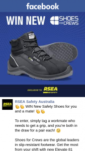 RSEA Safety Australia – Randomly Selected From Valid Comments Via Third Party Application (prize valued at $169.95)