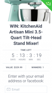 The Throw Store – Win a Kitchenaid Artisan Mini 3.5-quart Tilt-Head Stand Mixer/rafflecopter – Fb & Twitter Entry (prize valued at $330)