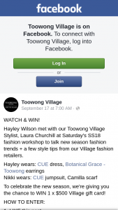 Toowong Village – Win 1 X $500 Village Gift Card (prize valued at $599)