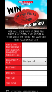 Vic Roads-Custom Plates – Win a Double Pass to The AFL Grand Final a Customs Plate Voucher a Sherrin Footy and a Club Merchandise Pack
