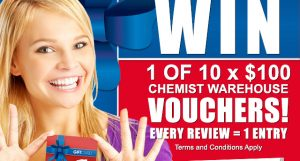 Chemist Warehouse – Write a review to Win 1 of 60 Chemist Warehouse gift cards valued at $100 each
