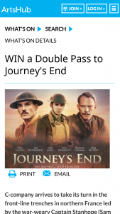 Artshub – Win a Double Pass to Journey's End