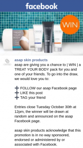 ASAP skin products – Win | a Treat Your Body Pack for You and One of Your Friends