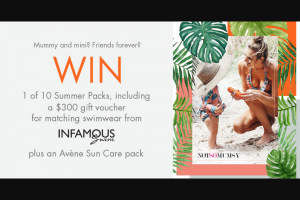 Avene – Win 1/10 $300 Vouchers Or 1/84 Suncare Prizes/bonus Entries Via Fb Share/instagram Follow/watching Video (prize valued at $89.85)