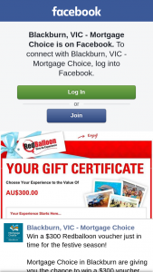 Blackburn Mortgage Choice – Win a $300 Voucher From Redballoon (prize valued at $300)