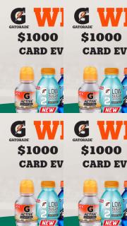 BP Gatorade – Win a $1000 Bp Gift Card (prize valued at $28,000)