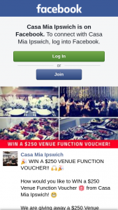 Casa Mia Ipswich – Win a $250 Venue Function Voucher (prize valued at $250)