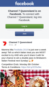 Channel 7 Qld – Win a Double Pass to Brisbane's Italian Festival Next Sunday (prize valued at $100)